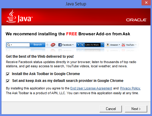 Opt-out screen for crapware bundled in Java setup. Mostly a sales pitch to not opt-out.